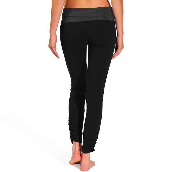 Legging yoga femme coton issu de l'agriculture biologique noir / gris chiné - 737028