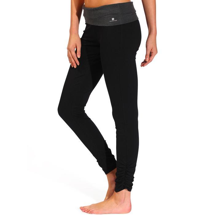 Legging yoga femme coton issu de l'agriculture biologique noir / gris chiné - 737029