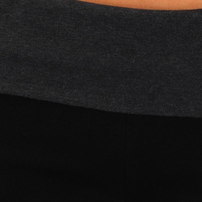 Legging yoga femme coton issu de l'agriculture biologique noir / gris chiné - 737033
