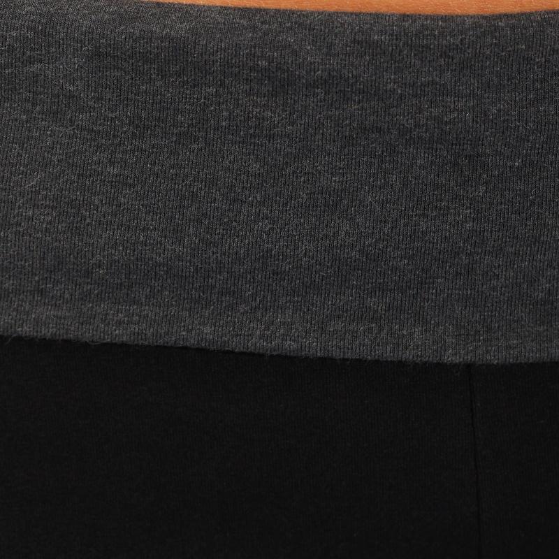 Calzas yoga mujer algodón de agricultura biológica negras / gris jaspeadas