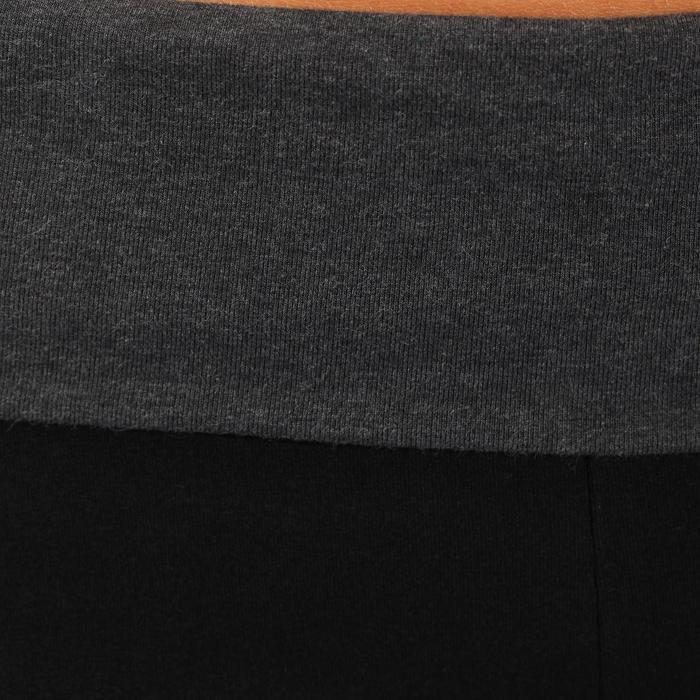 Legging yoga femme coton issu de l'agriculture biologique noir / gris chiné - 737037