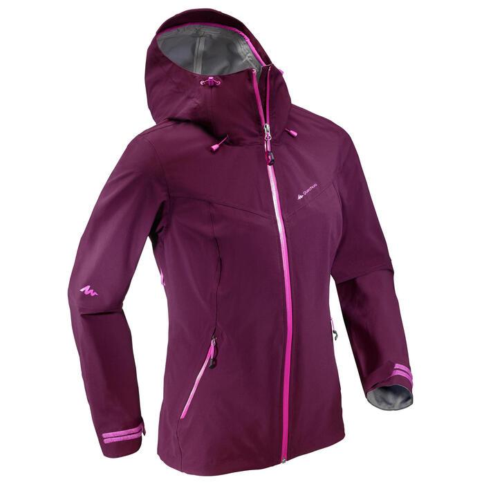 Veste de pluie imperméable de randonnée montagne Femme Prune