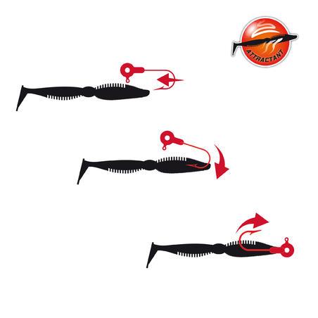 "IWAKI 4""5 soft fishing lure - RED PEPPER"