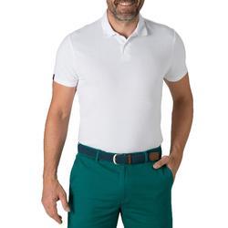 Polo de golf hombre manga corta 500 tiempo templado blanco