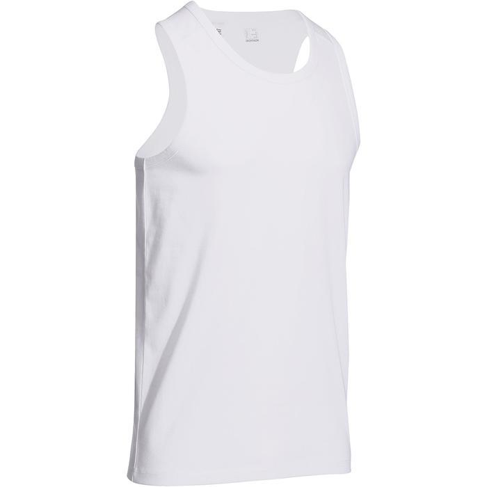 Mouwloos herenshirt voor gym en pilates wit