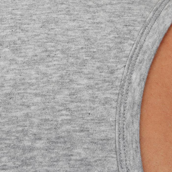 Mouwloos herenshirt voor gym en pilates gemêleerd middengrijs