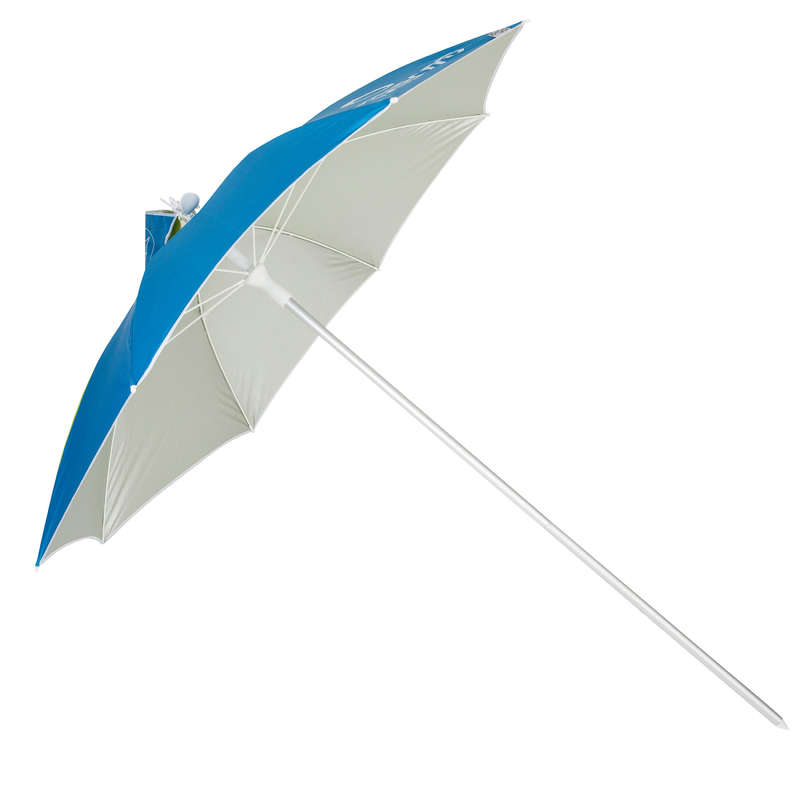 Radbug Paruv Protect Beach Umbrella Blue Green Decathlon