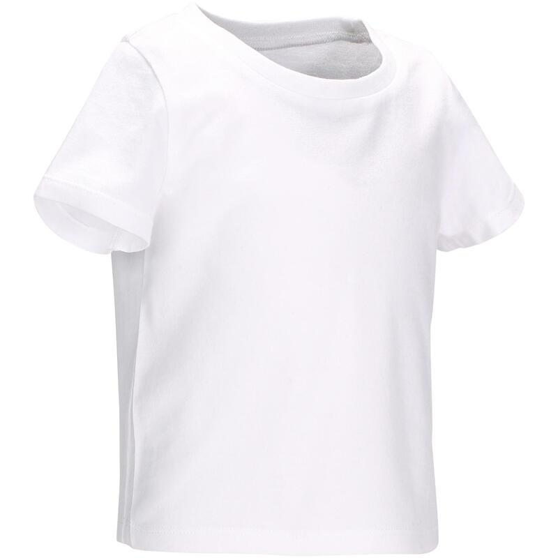 Dětské tričko 100 na cvičení s krátkým rukávem bílé