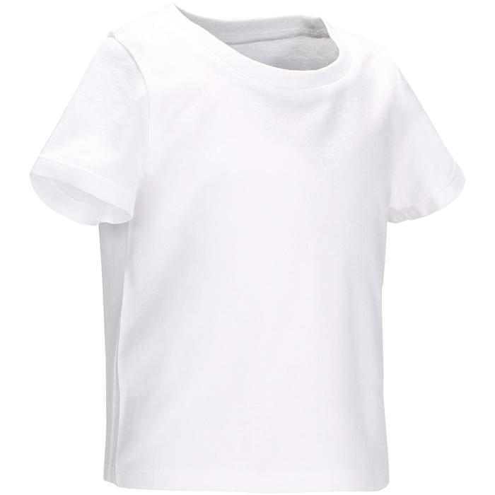 Camiseta Manga Corta Deportiva Gimnasia Domyos 100 Bebé Blanco