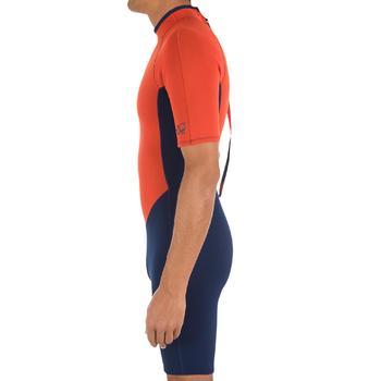 Heren shorty 100 voor surfen neopreen blauw/oranje