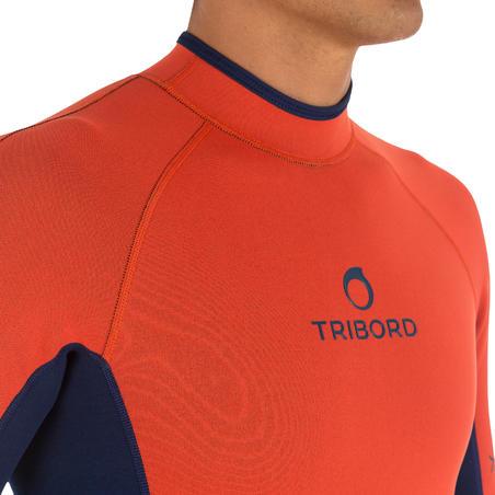 100 Men's Neoprene Shorty Surfing Wetsuit - Blue Orange