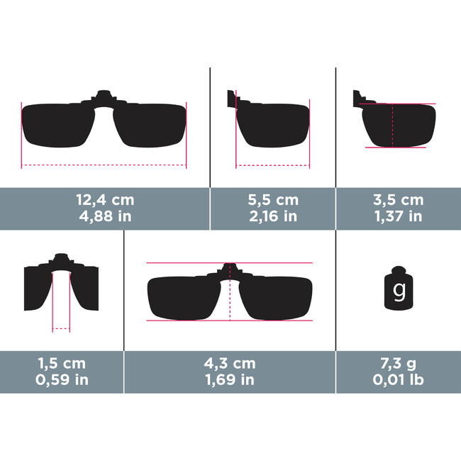 Clip-ons for Glasses MH120 Category 3 Polarised - SMALL