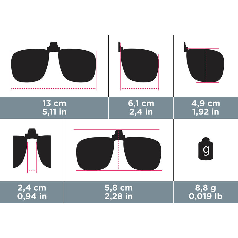 Clip-ons for Prescription Glasses MH120 Category 3 Polarised - Large
