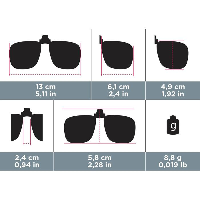 Clip adaptable sur lunettes de vue CLIP 120 L polarisant catégorie 3 - 749935
