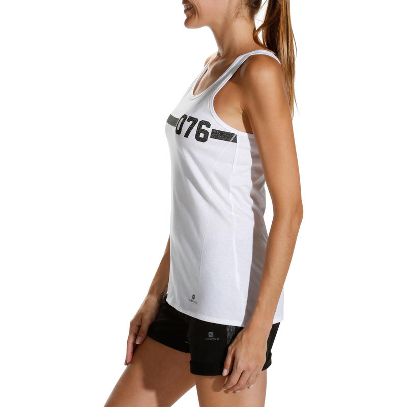 Essential Women's Fitness Print Tank Top - White