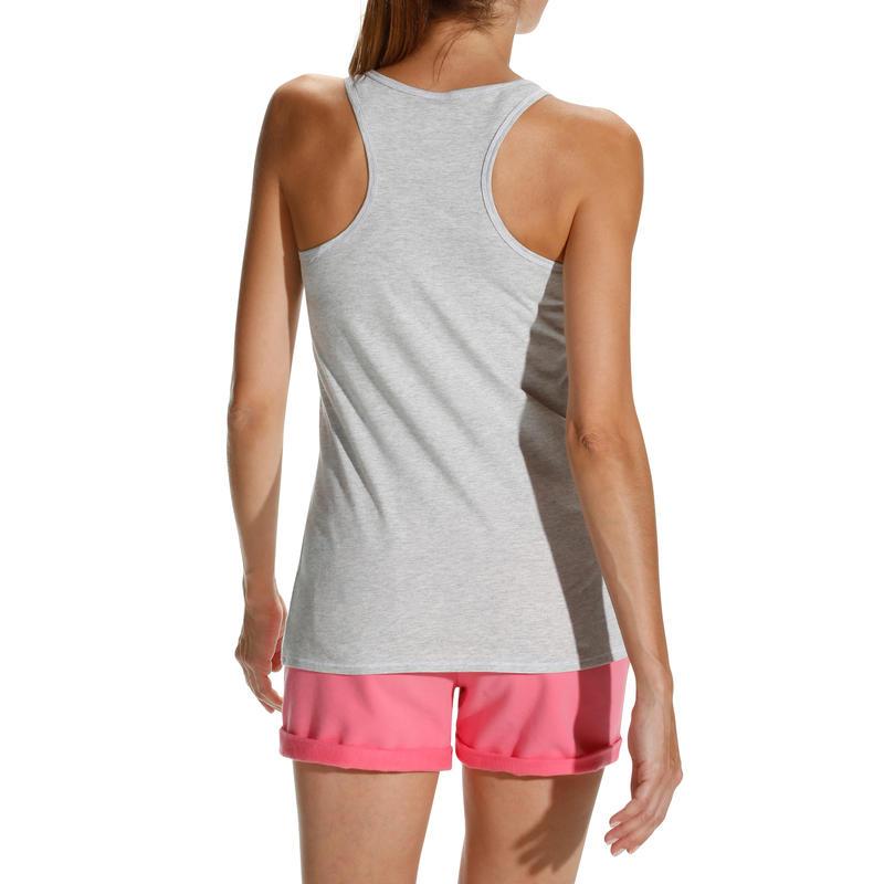 เสื้อกล้ามฟิตเนสพิมพ์ลายสำหรับผู้หญิง Essential (สี Light Mottled Grey)
