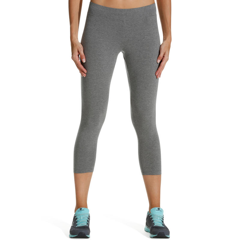 Fit+ 500 Women's Slim-Fit Gym & Pilates 7/8 Leggings - Mid Mottled Grey