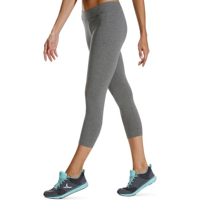 7/8-dameslegging Fit+ 500 voor gym en pilates slim fit gemêleerd middengrijs