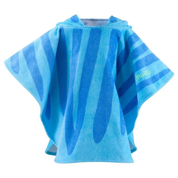 Kinderponcho met kap Zebro blauw