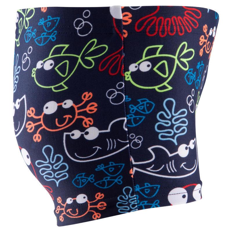 Dark blue baby boys fish print boxer swim shorts