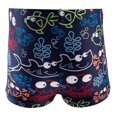 """Vestido de baño tipo """"boxer"""" estampado bebé niño """"ALL FISH"""" azul oscuro"""