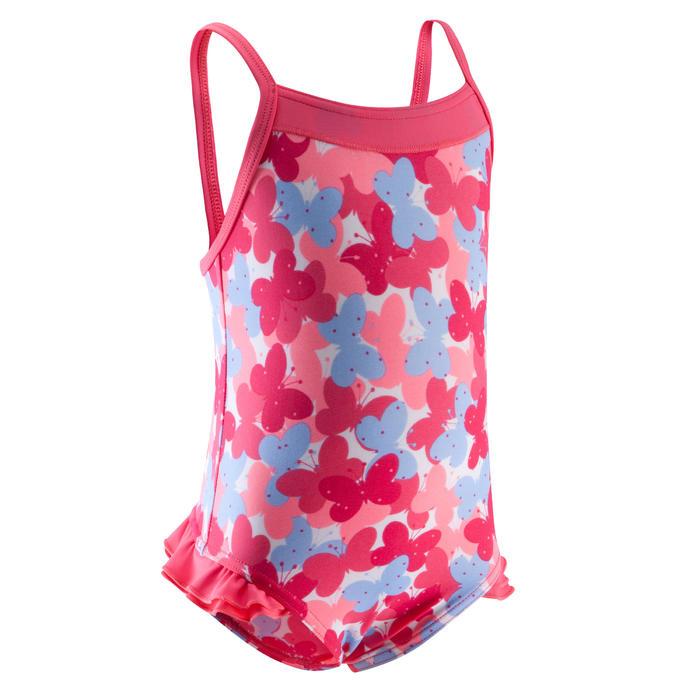 Maillot de bain bébé fille une pièce madina + rose imprimé papillons