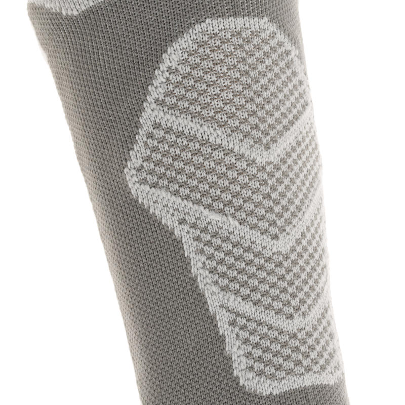 2 paires de chaussettes de randonnée montagne tiges hautes adulte F500 grise