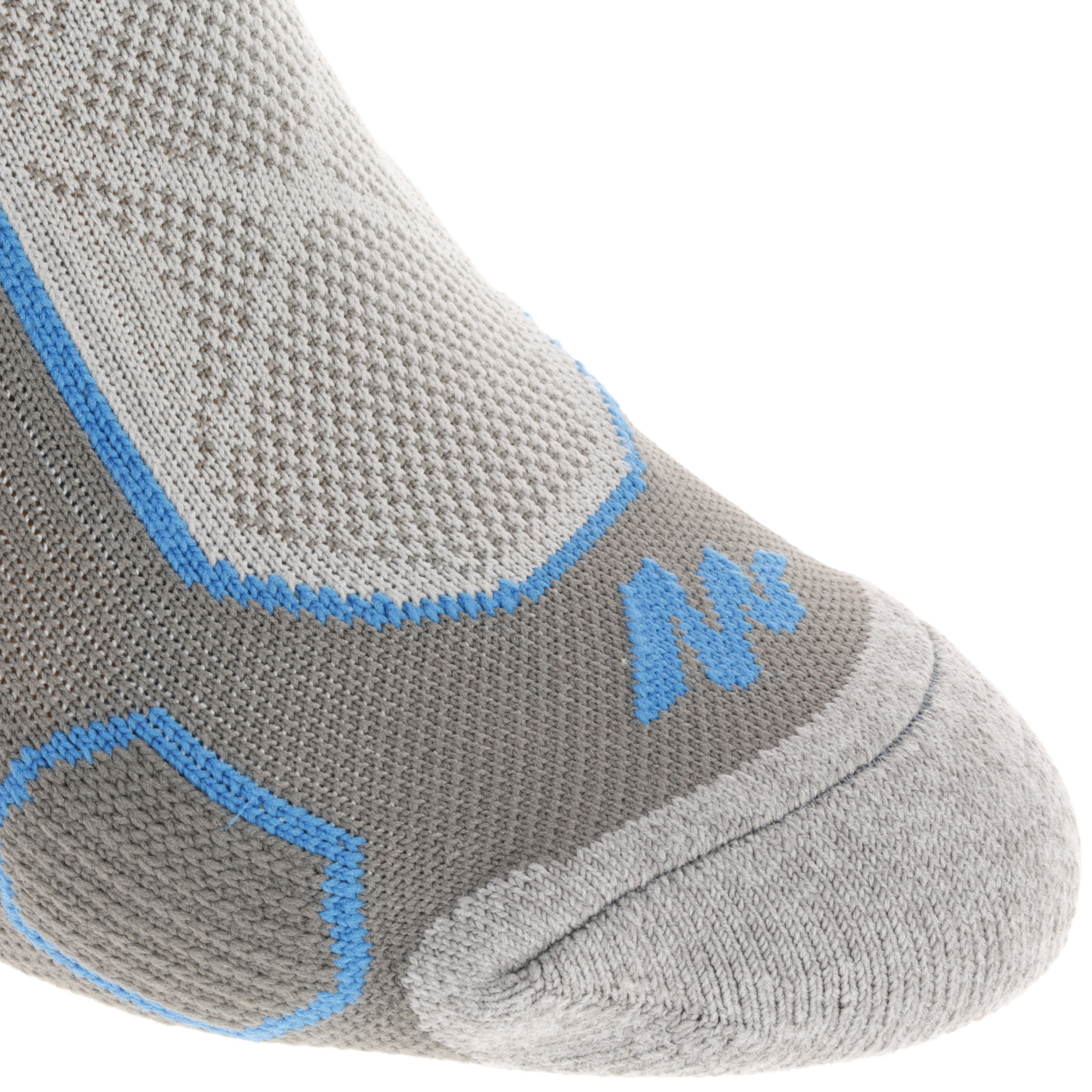 2 pairs of high length adult F500 mountain hiking socks in grey