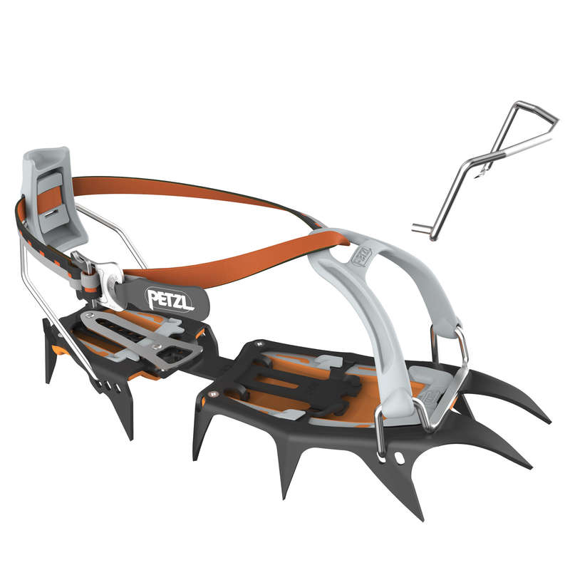 AXES & CRAMPONS - These classic mountaineering crampons with 12-points and leverlock universal or flexlock bindings are made for glacier trekking up to snow couloirs. They offer excellent grip and have a binding system for shoes with a rear welt. PETZL