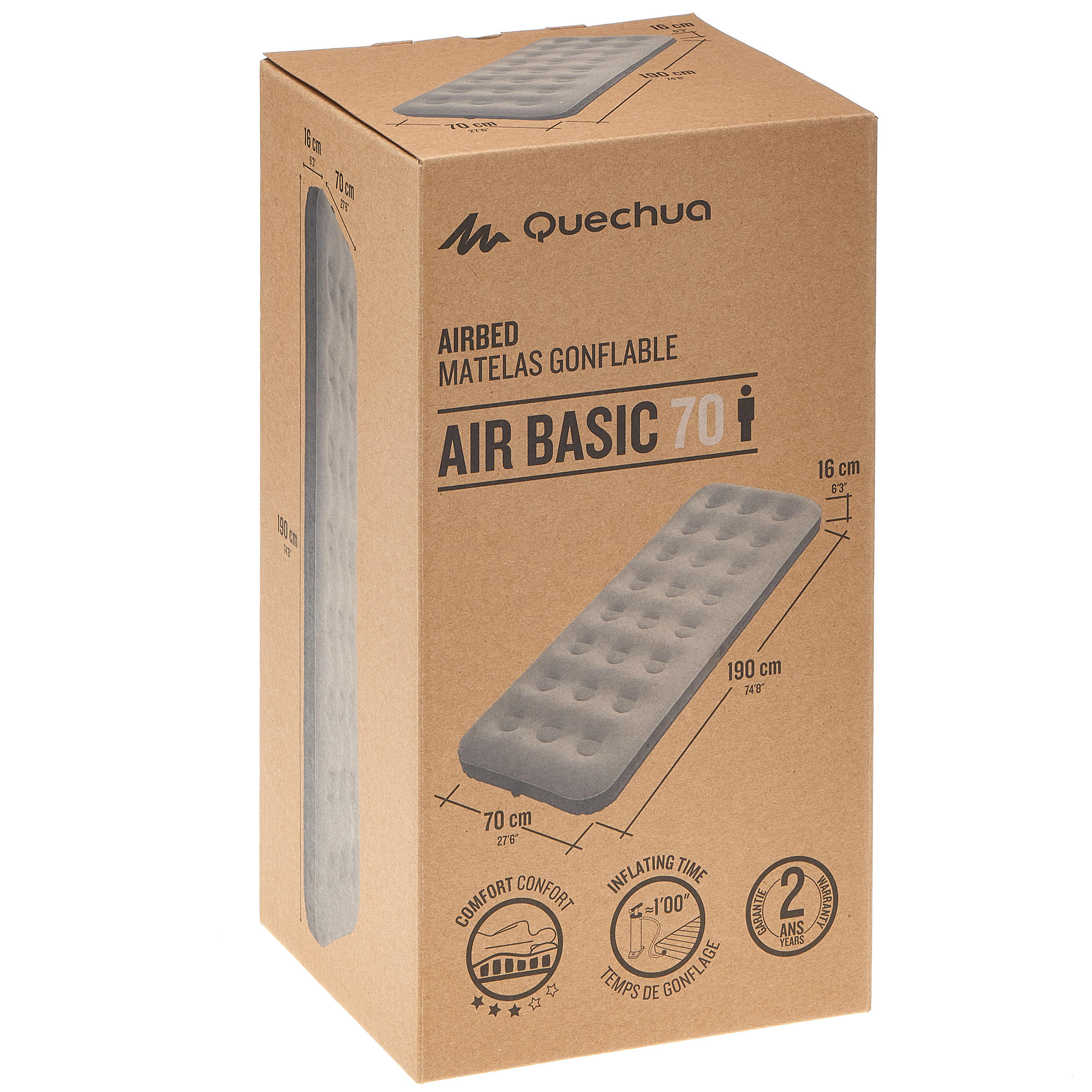 MATELAS DE CAMPING GONFLABLE AIR BASIC _PIPE_ 1 PERSONNE - LARGEUR 70 CM