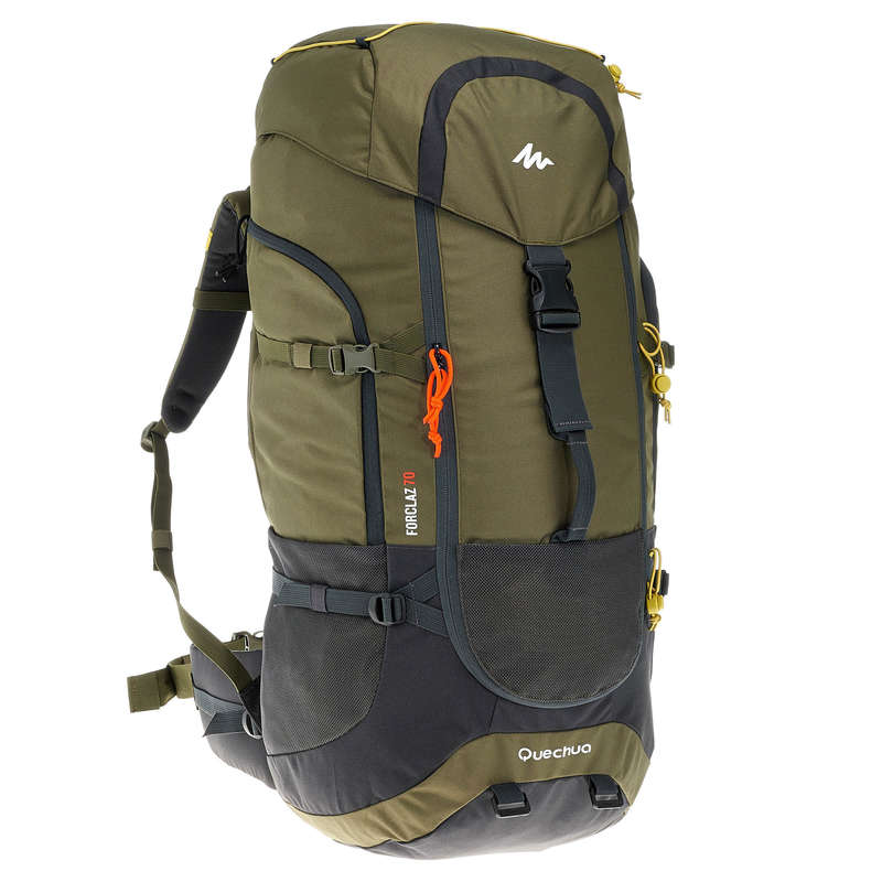 BACKPACKS 40L TO 70L TRAVEL TREKKING - 70L Rucksack - Khaki QUECHUA