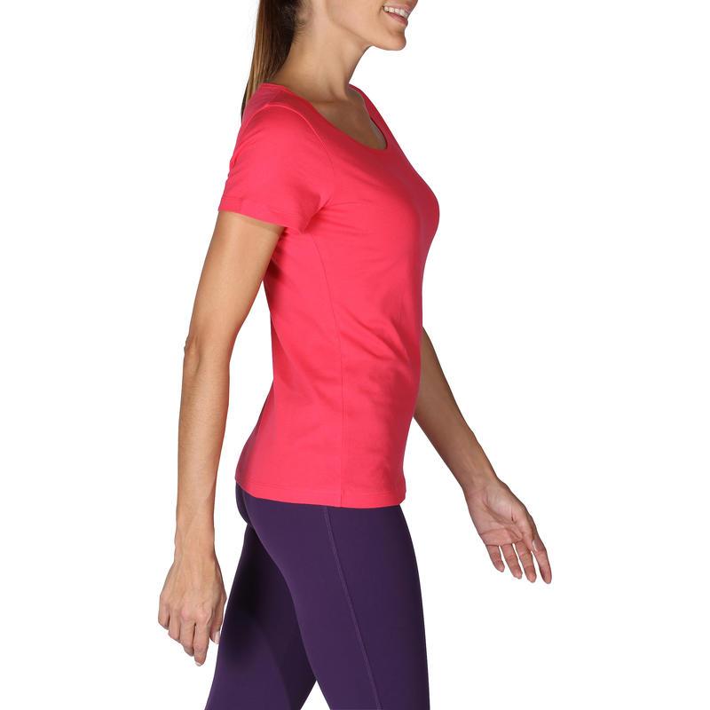 T-shirt 100 manches courtes Gym & Pilates femme rose Sportee