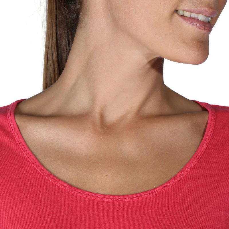 Sportee 100 Women's Short-Sleeved Gym & Pilates T-Shirt - Bright Pink