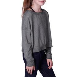 Kort, wijd sweatshirt met lange mouwen voor meisjes, oranje. - 756279