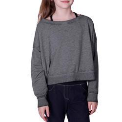 Kort, wijd sweatshirt met lange mouwen voor meisjes, oranje. - 756280
