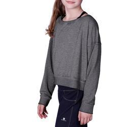 Kort, wijd sweatshirt met lange mouwen voor meisjes, oranje. - 756282