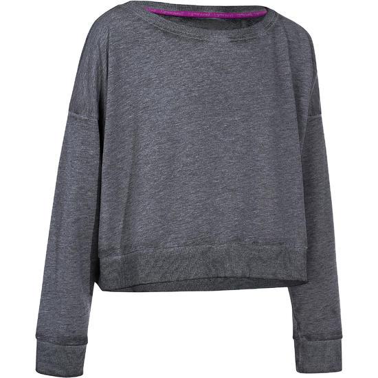 Kort, wijd sweatshirt met lange mouwen voor meisjes, oranje. - 756283