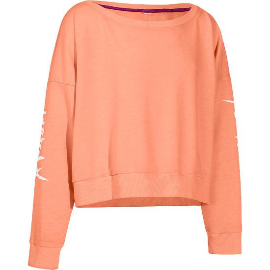 Kort, wijd sweatshirt met lange mouwen voor meisjes, oranje. - 756292