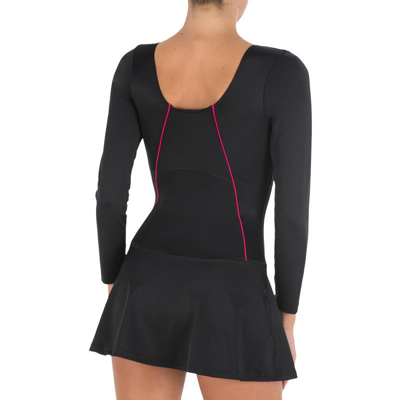 Women Swimming Costume full sleeves with skirt - black