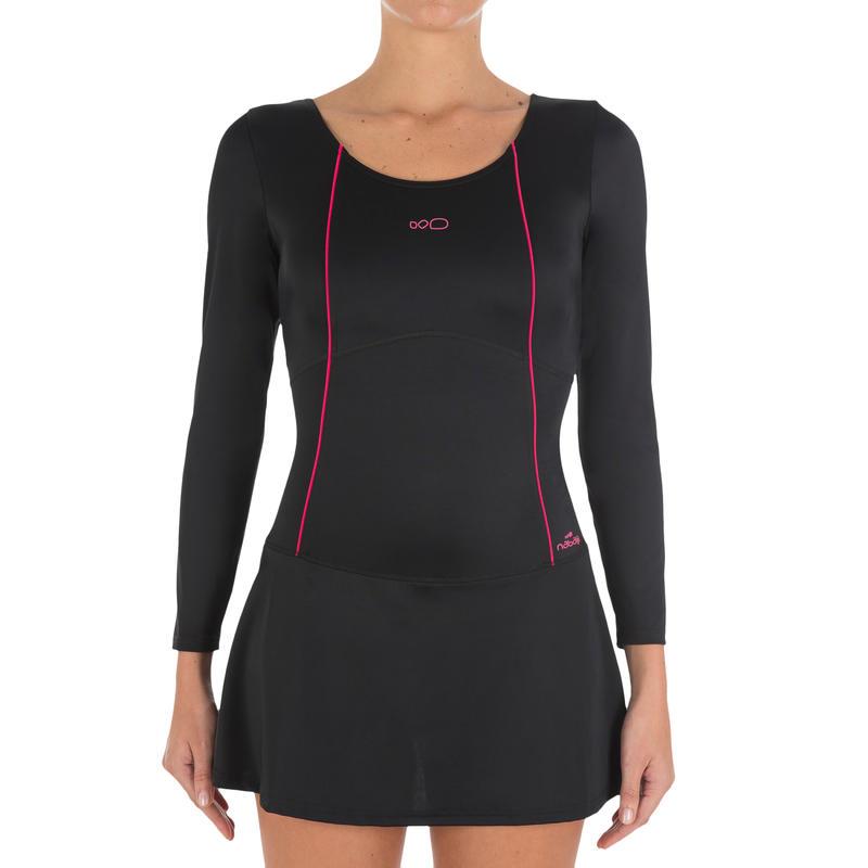 e044d677e3 Women Swimming Costume full sleeves with skirt - black