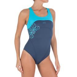 Maillot de bain de natation une pièce femme Debo Map Gris Bleu