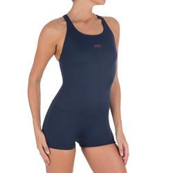 Maillot de bain de natation forme shorty une pièce femme Leony bleu foncé