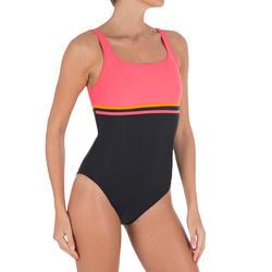 Bañador de natación una pieza mujer Loran negro rojo coral