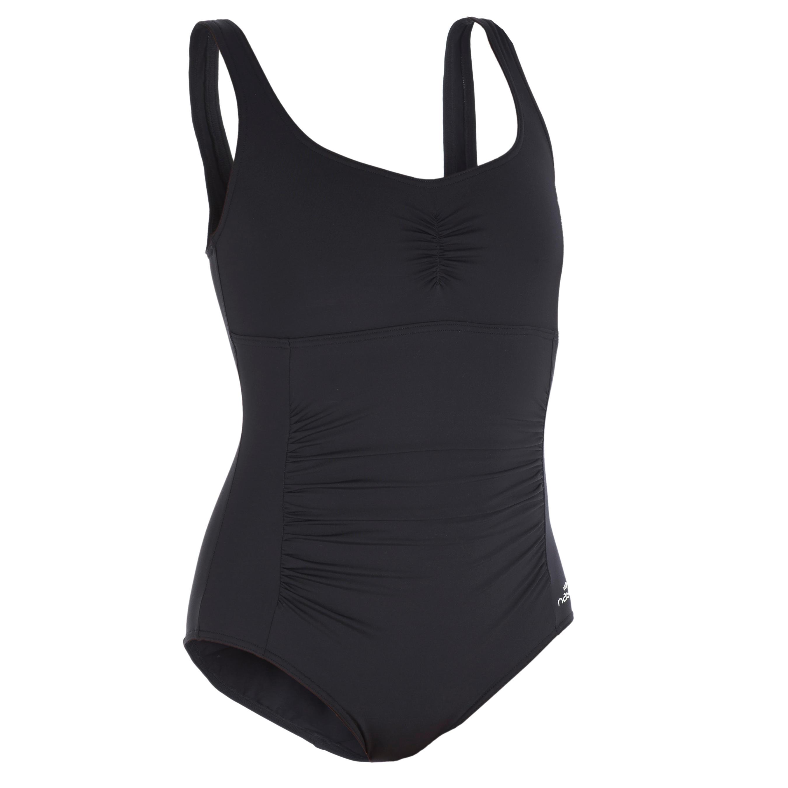 Maillot de bain femme une pièce gainant de gymnastique aquatique Mary Noir