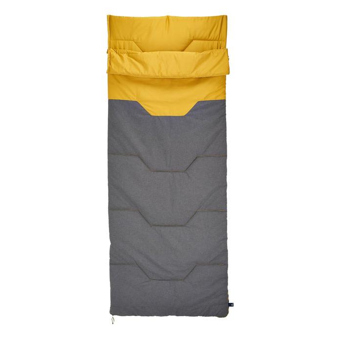 Saco Dormir Camping Quechua 10° Adulto Algodón Gris/Amarillo