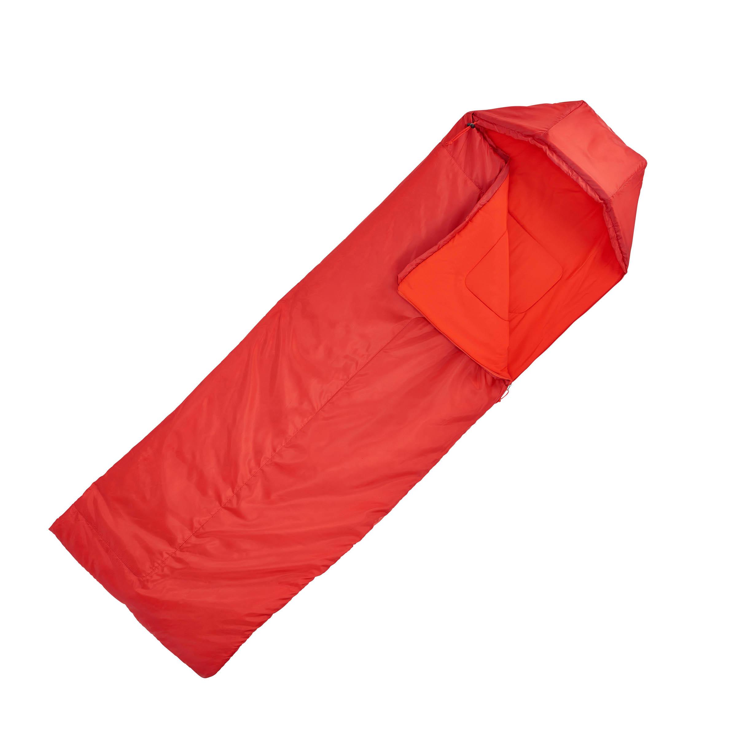 Forclaz 10° Bivouacking/Hiking/Trekking Sleeping Bag - Left Zip Red