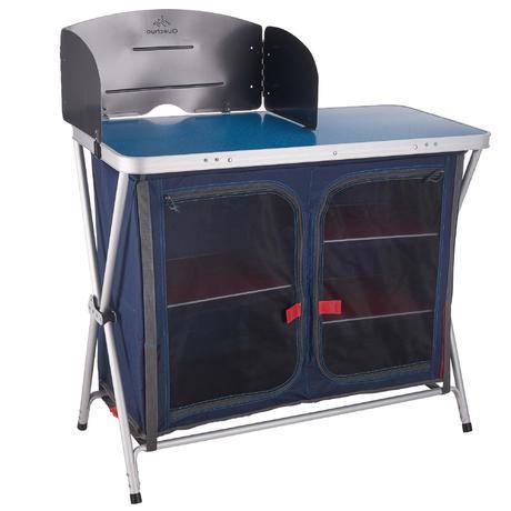 Mobilier camping meuble de cuisine bleu quechua for Meuble camping cuisine