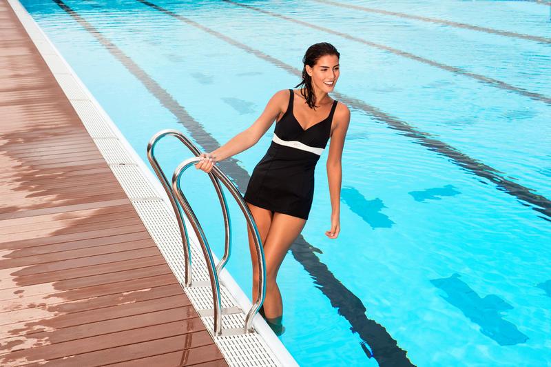 Traje de baño de natación 1 pieza mujer moldeador Kaipearl skirt Negro