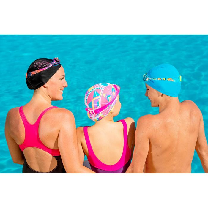 Mesh Fabric Swimming Cap, Sizes S and L - Black