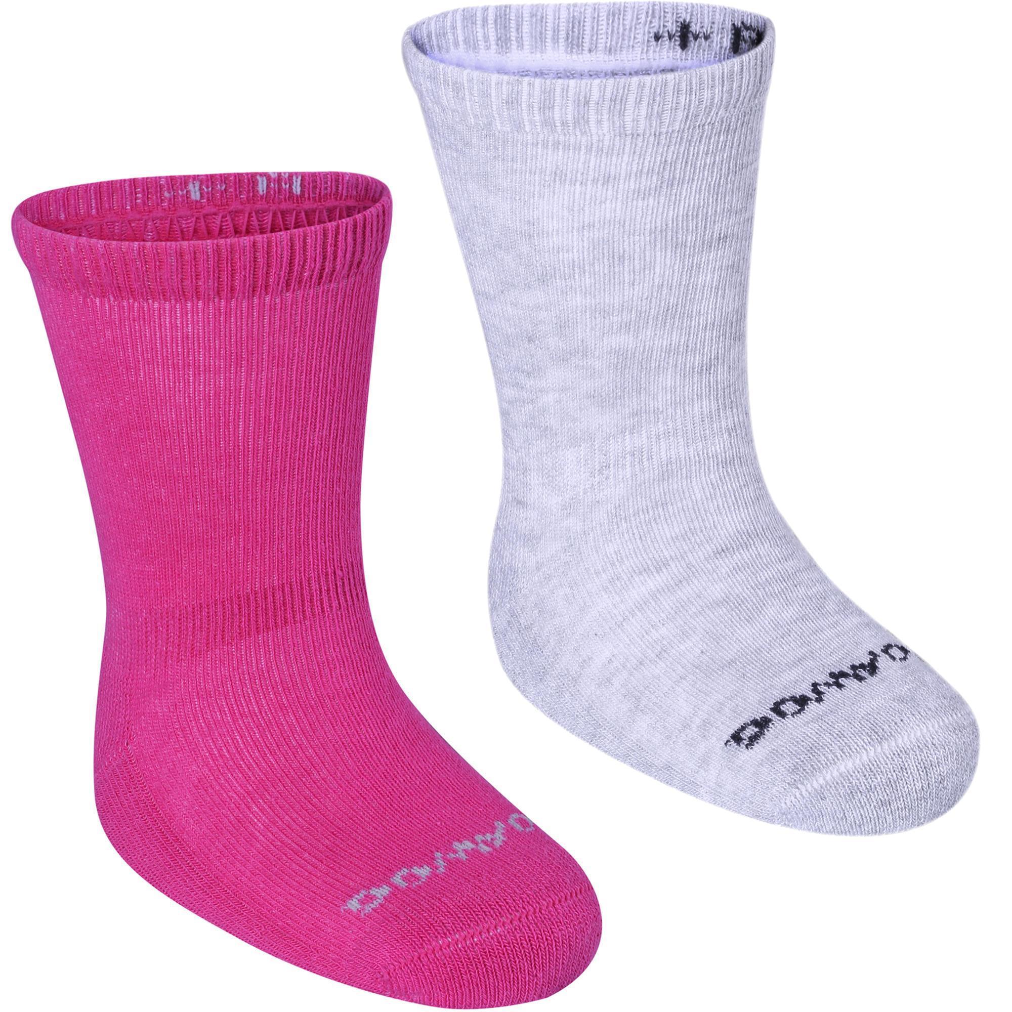 Domyos Antislip sokken 500 voor gym, set van 2 paar, roze/gemêleerd